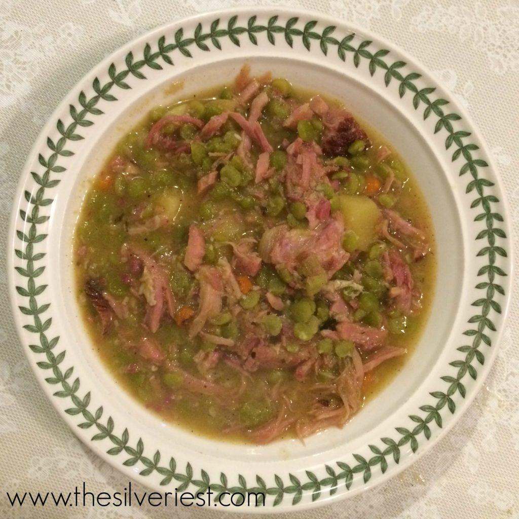 Split pea and ham soup is wonderful this time of year, served with spring onions and syrupy balsamic vinegar. It's a simple meal the whole family will love! www.thesilveriest.com