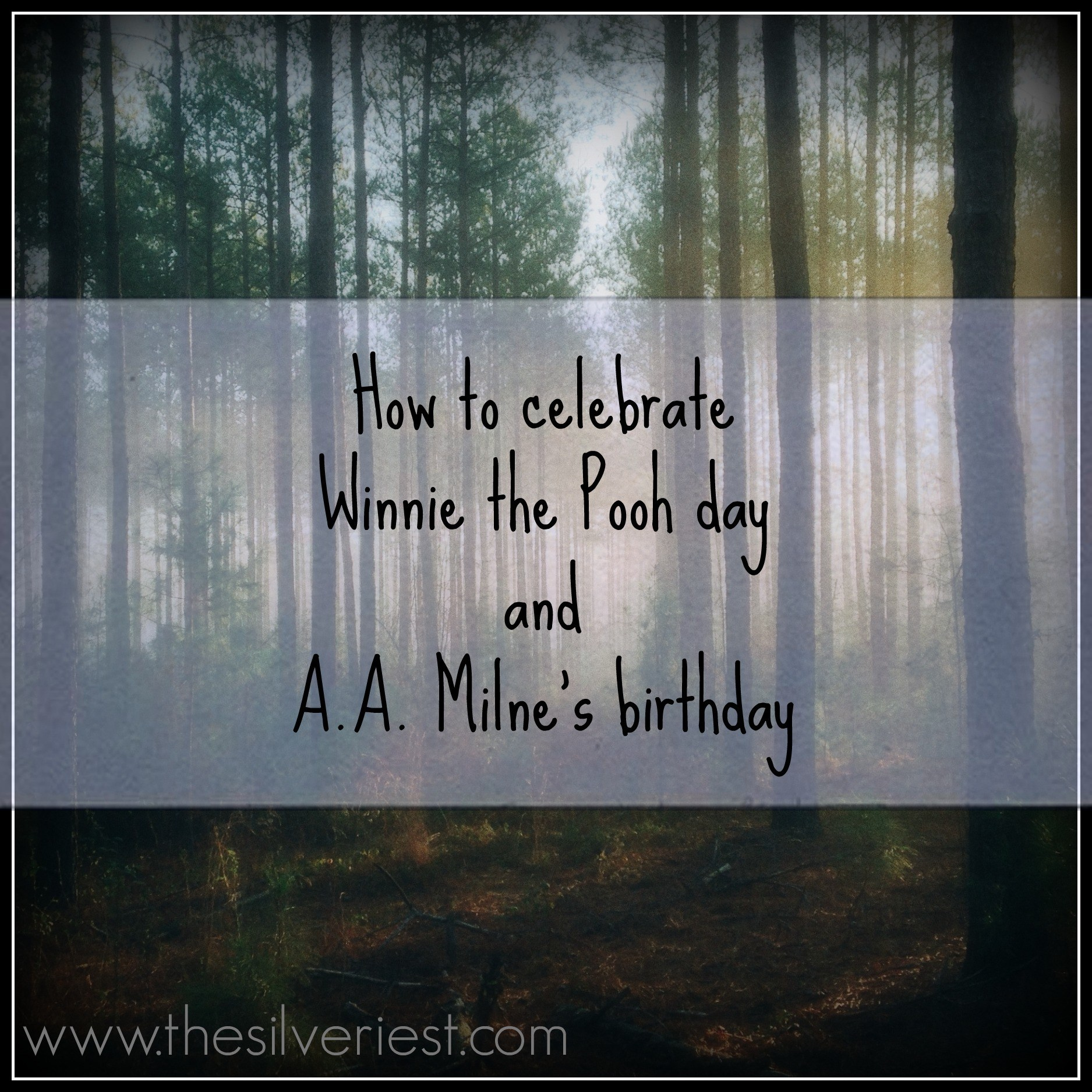 These delightful stories should be read over and over! Here's how we celebrate Winnie the Pooh day and A.A. Milne's birthday in a simple and meaningful way. www.thesilveriest.com
