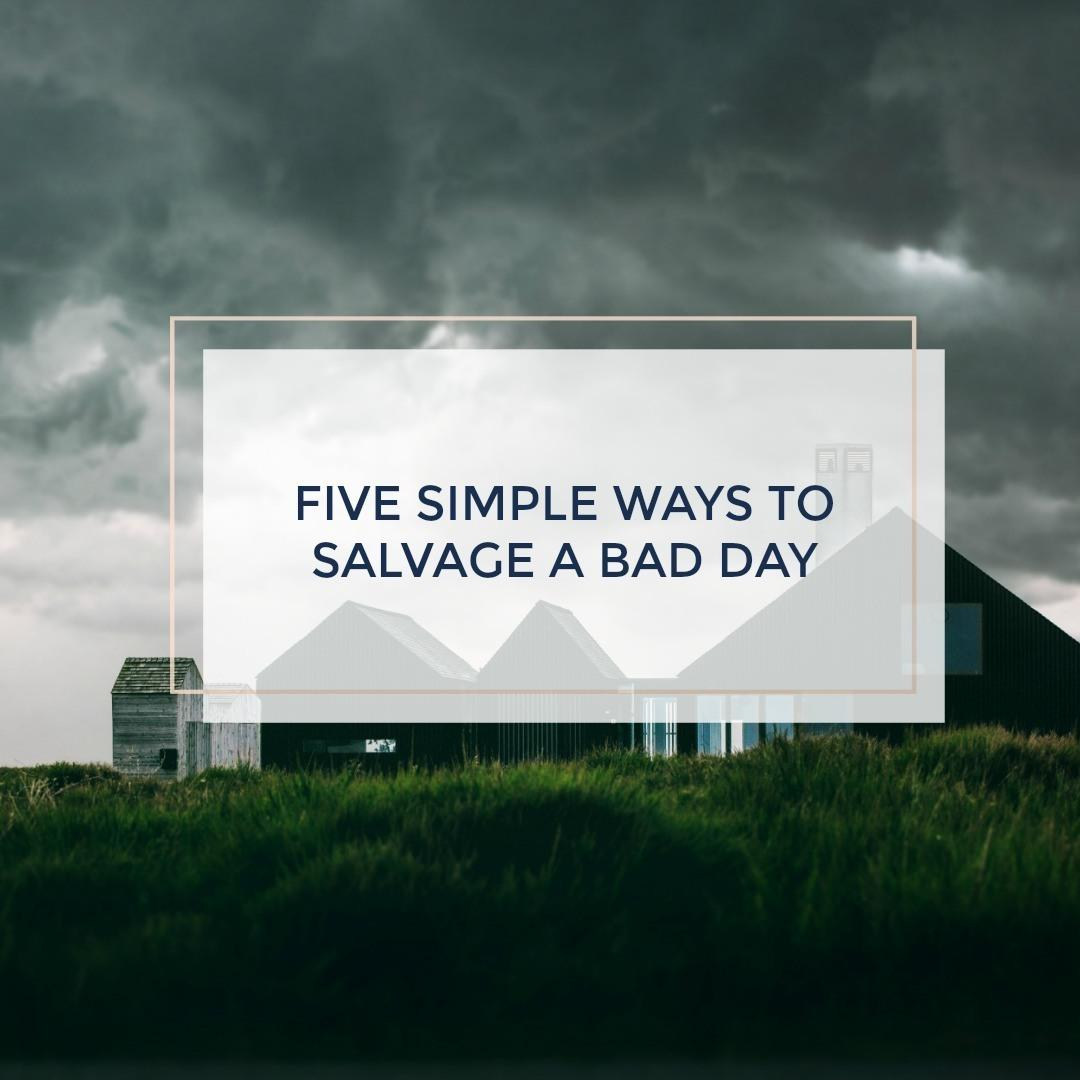 Sometimes, we just have a bad day. But it doesn't have to stay that way! Here are five simple suggestions to salvage a bad day. www.modernlivinghomesteader.com